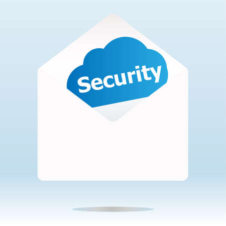 security word on blue cloud, paper mail envelope Stock Photo - 20611034