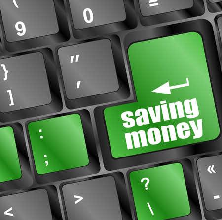 saving money button on computer keyboard key photo