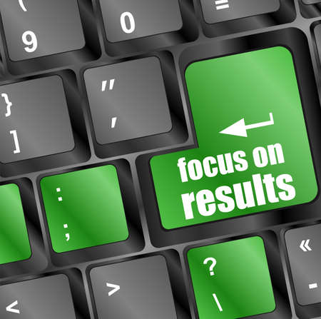 focus on results button on computer keyboard key photo