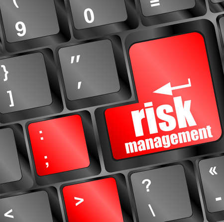 Keyboard with risk management button, internet concept photo