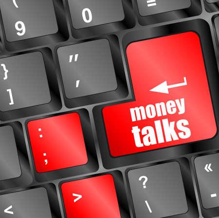 money talks on computer keyboard key button photo