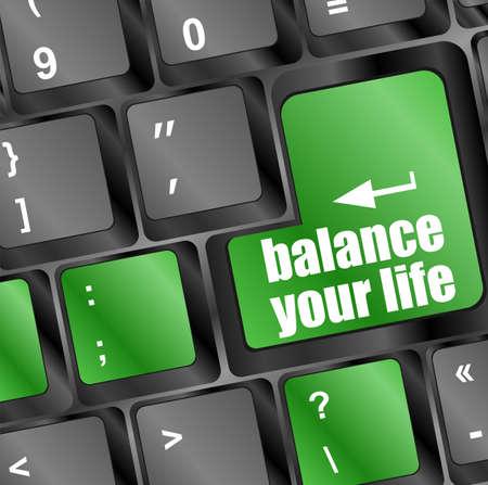 alphabet computer keyboard: balance your life button on computer keyboard key Stock Photo