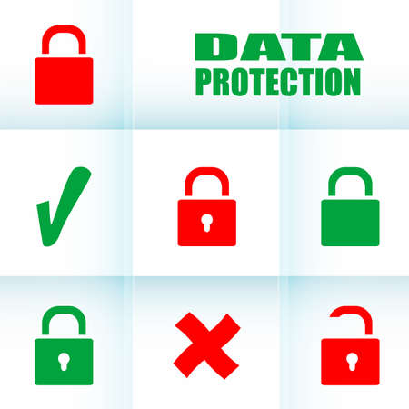 Security concept: Lock set on digital screen, data protection Stock Photo - 21877157
