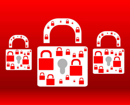protect red padlock web icon on background Stock Photo - 21877172