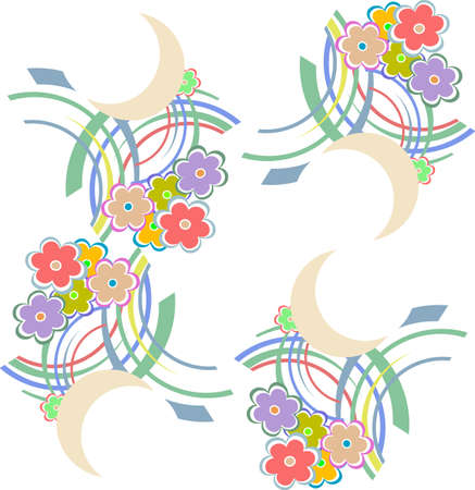 sateen: seamless pattern with flowers and leaves. Floral colorful summery background Stock Photo