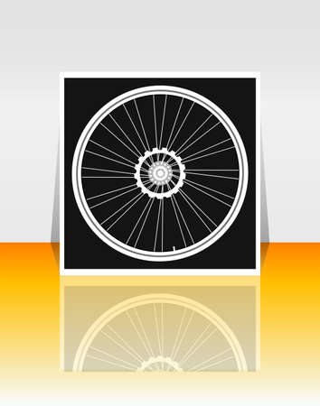 Bicycle wheel on flyer or cover photo