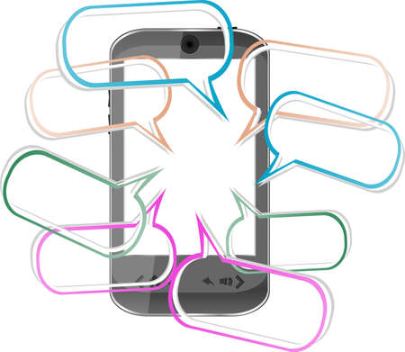 speakerphone: Modern mobile smart phone. Sending and Receiving SMS Messages