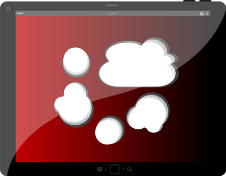 speech bubble on black tablet pc social, network concept Stock Photo - 22074789