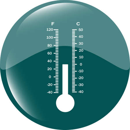 Thermometer icon blue button photo