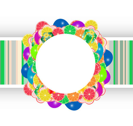 Frame with flowers and fruits, christmas holiday photo