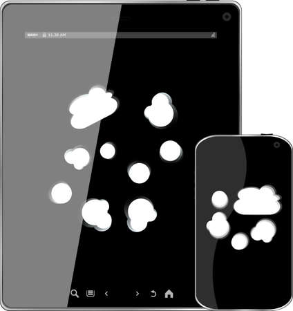 Blank mobile smart phone and digital tablet pc with cloud on the screen Stock Photo - 22298810