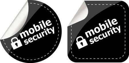 mobile security black stickers label tag set photo