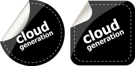 computering: Cloud generation icon, label stickers set Stock Photo