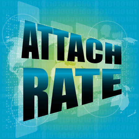 attach: attach rate words on digital touch screen Stock Photo