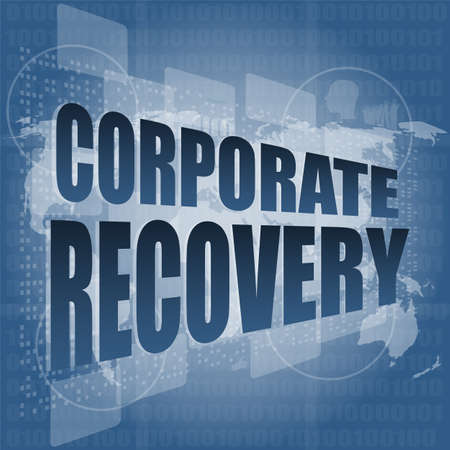 corporate recovery word on business digital screen photo