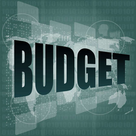pixeled: Pixeled word budget on digital screen 3d