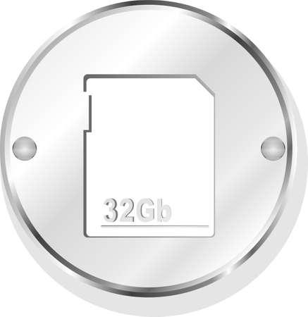 flash memory card on metal icon button Stock Photo - 22463287