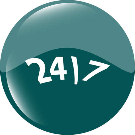 24 hour green button web icon photo