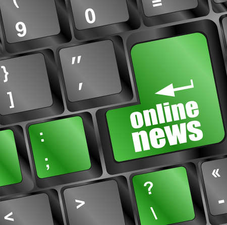 online news button on computer keyboard key photo