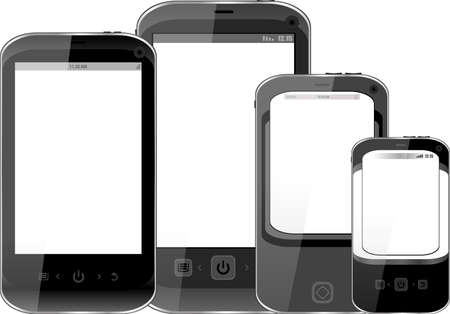 Photo-realistic illustration of different smart phones with copyspace on the screen - isolated illustration
