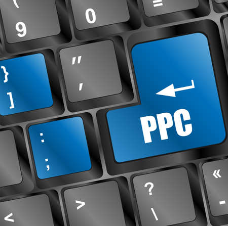 PPC (Pay Per Click) Concept. Button on Modern Computer Keyboard