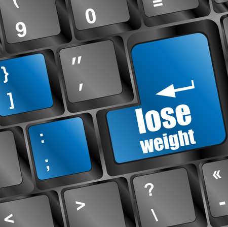 Lose weight on blue keyboard key button photo