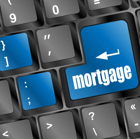 Keyboard with single blue button showing the word mortgage photo
