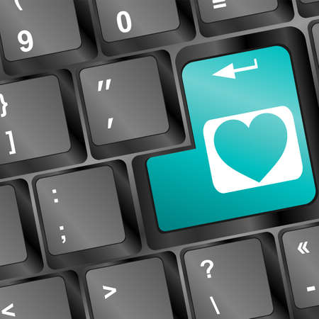 keyboard with heart sign photo