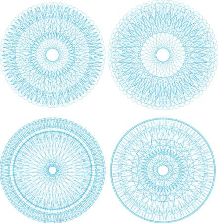 Set of guilloche rosettes certificate or diplomas, blue decorative elements photo