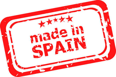 made in spain: Grunge made in spain red rubber stamp