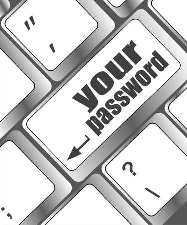 protecting your business: el bot?n de la contrase?a en el teclado - concepto de seguridad