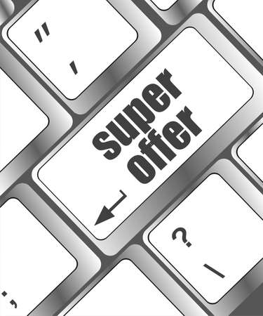 Super offer text on laptop computer keyboard photo