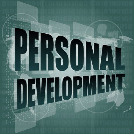 personal development word on touch screen, modern virtual technology background photo