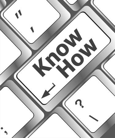knowhow: know how knowledge or education concept, button on computer keyboard
