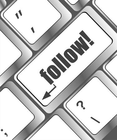 Social media or social network concept: Keyboard with follow button Stock Photo - 22617944