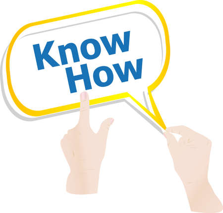 know how: hands holding abstract cloud with know how word