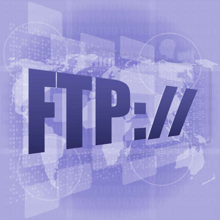 ftp: ftp word on digital screen, global communication concept Stock Photo