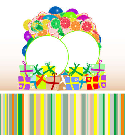 fruit banners with gift boxes, christmas card photo