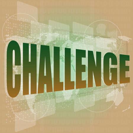 Marketing concept: words challenge on digital screen
