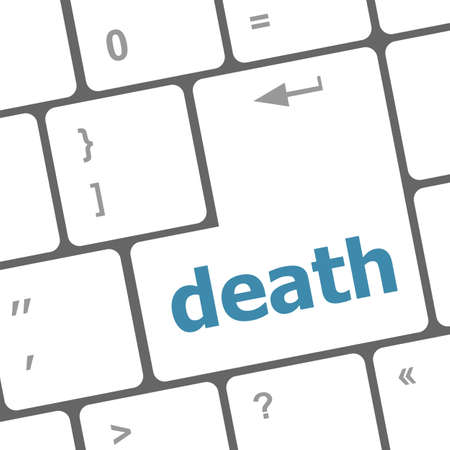 death word on keyboard key, notebook computer button photo