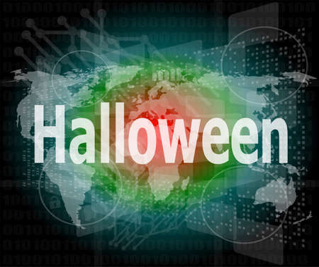 background with word halloween on digital touch screen photo