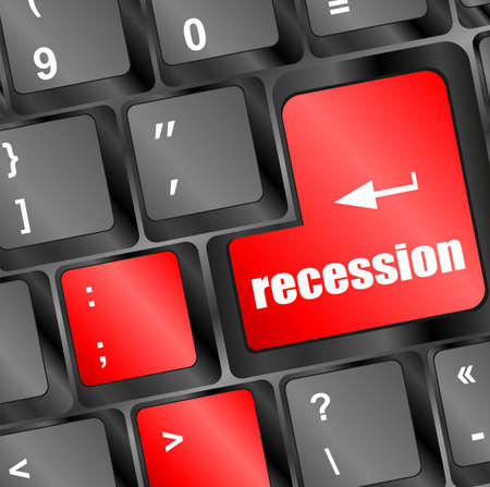 economic recovery: recession button on computer keyboard key Stock Photo