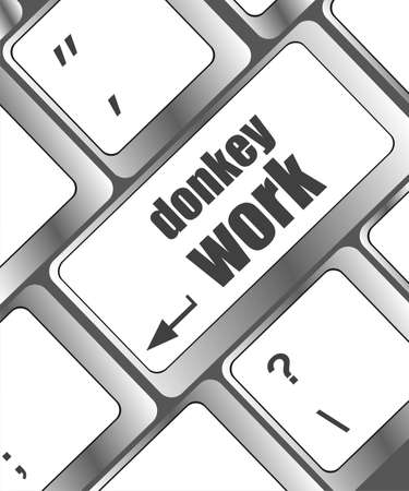 Wording donkey work on computer keyboard photo