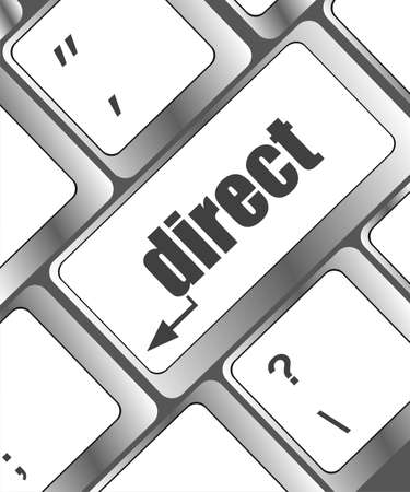 Computer keyboard with direct key. business concept photo