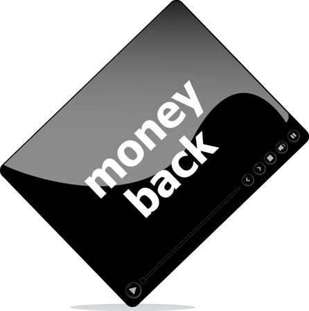 Video movie media player with money back word on it photo