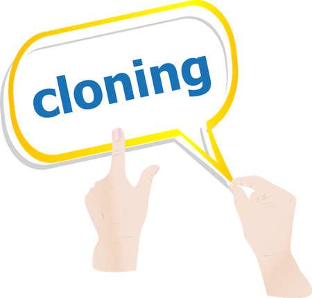 clonacion: tomados de la mano la nube abstracta con la palabra clonaci�n