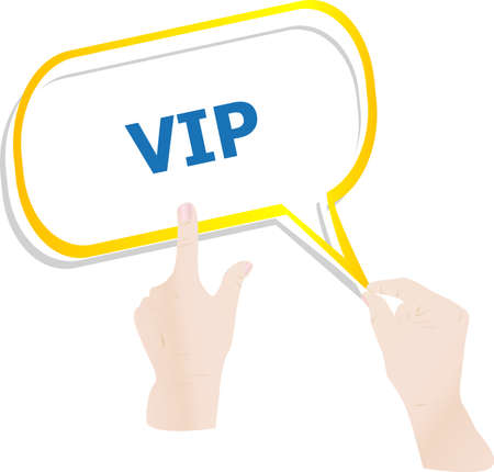 hands push word vip on speech bubbles photo