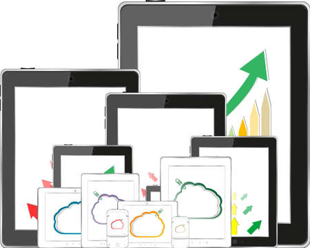 cloud computing concept with tablet PC downloading data and arrow chart photo
