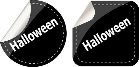 Happy Halloween round stickers set photo