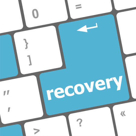 recovery text on the keyboard key Stock Photo